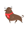 cute good bull symbol of the new year a bull in a vector image vector image