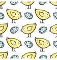 easter pattern with eggs and yellow chicken vector image vector image