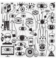 eyes doodles set vector image vector image