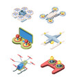 flying drones set modern robotic devices vector image vector image