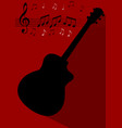 guitar black silhouette with long shadow on dark vector image vector image