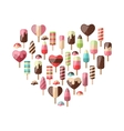 Heart made in Set Different Colorful Ice Cream vector image vector image