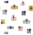 holiday seamless pattern with gift boxes trendy vector image
