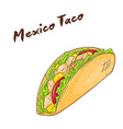 isolated cartoon hand drawn fast food Mexican taco vector image vector image