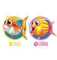 King and queen fish on round badge vector image vector image