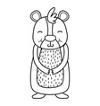 line cute and smile bear wild animal vector image vector image