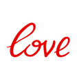 love hand written word vector image