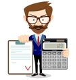 Man showing a calculator and the agreement vector image vector image