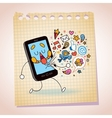mobile phone note paper cartoon sketch vector image vector image