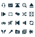 music icons set with widen upward sound off and vector image vector image