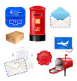 realistic post mailbox letter set vector image vector image