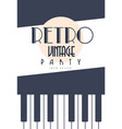 retro vintage party logo design emblem with piano vector image vector image