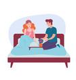romantic happy couple having breakfast in bed vector image vector image