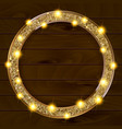 round gold frame on a wooden background vector image vector image