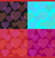 seamless pattern set of transparent hearts vector image
