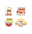set colorful logos for food truck vector image vector image