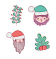 set elf with santa claus and branches leaves vector image vector image