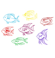 Set of seven aquarium fish silhouettes vector image vector image