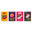 set posters for grocery food store with vector image vector image