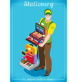 Stationer Poster People Isometric vector image vector image