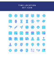 time location filled outline icon set vector image vector image