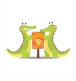 Two Crocodiles Setting Up A Sign vector image