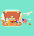 usa travel horizontal banner cartoon style vector image vector image