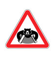 warning russia bear with accordion with red vector image vector image