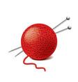 yarn ball needles isolated vector image