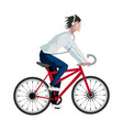 young man listen music headphones riding bicycle vector image