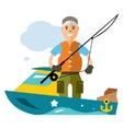 Fishing man Flat style colorful Cartoon vector image