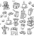 hand drawn coffee seamless pattern vector image