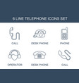 6 telephone icons vector image vector image