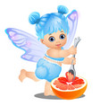 a little happy girl with blue hair and fairy wings vector image vector image