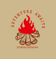 adventure awaits campfire design element vector image vector image