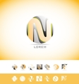Alphabet letter N sphere logo icon set vector image vector image