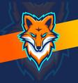 angry fox head mascot esport logo design