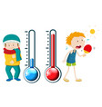 boys in winter and summer vector image vector image