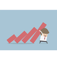 Businessman trying to stop falling graph vector image