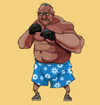 cartoon funny man old boxer in floral shorts vector image vector image
