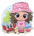 cartoon girl in a panama hat and crab on beach vector image