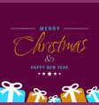 christmas card with purple background and gift vector image vector image