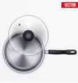 classic stainless steel fry pan vector image vector image
