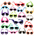 colorful sunglasses icon set isolated on white vector image vector image