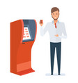 consultant at bank shows branded card vector image