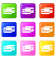 credit card icons 9 set vector image vector image