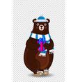 cute cartoon bear in santa hat and scarf vector image vector image