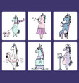 cute set of 6 funny hand-drawn unicorns vector image