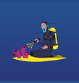 diver character diving on coral reef seabed flat vector image