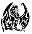 dragon tattoo on white background vector image vector image